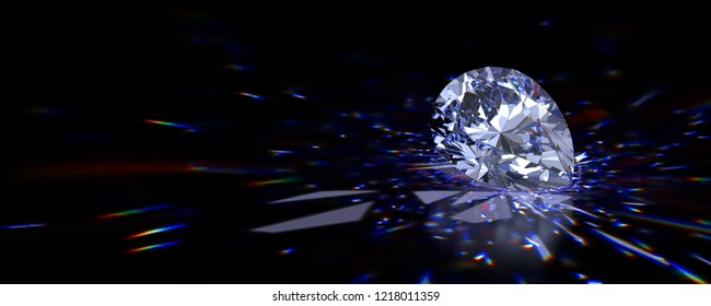 Pear cut diamond with beautiful colorful caustics rays on black glossy background. 3D illustration