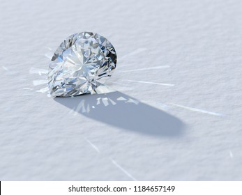 Pear cut diamond close-up on white background, rear light, caustics rays. 3D illustration