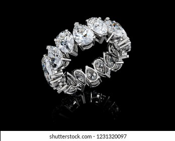 Pear cut diamond eternity ring isolated on black glossy background. 3D illustration