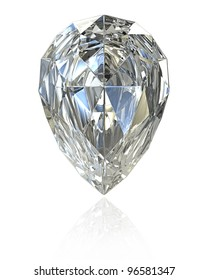 Pear cut diamond, isolated on white background