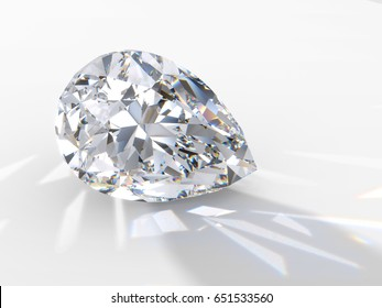 Pear cut diamond on light blue background, back highlighted to throw a shadow ahead, with reflected rays, rainbow refraction caustics. Close-up view. 3D rendering illustration