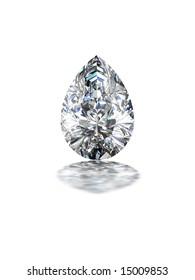 Pear shape diamond on white