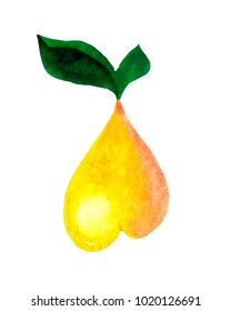 Pear shaped like a heart, painted in watercolor on a white background