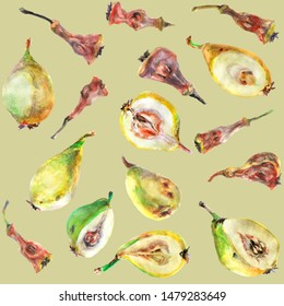 pear and stub seamless pattern