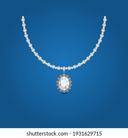pearl and diamond with big diamond centered necklace Jewelry for girls jpg file