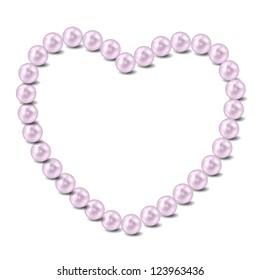 Pearl heart  illustration background. Raster version