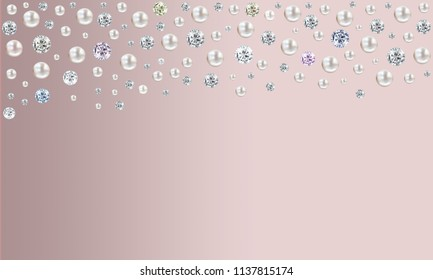 Pearl illustration background with many small and big white shiny nacreous pearls and diamonds raining from top of page on pink background - space for your text