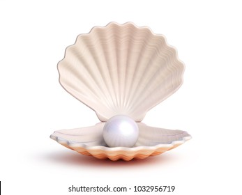 Pearl inside seashell 3d rendering