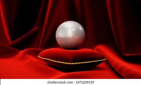 Pearl on a soft red velvet pillow with red silk. Beautiful illustration with pearl. Gemstone pearl on red curtain. Feminine decoration on a pillow with red silk. 3D Rendering