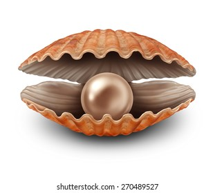 Pearl in an open sea shell as a metaphor for a rare treasure discovery and fortune as a seashell with a valuable natural precious sphere inside on a white background.