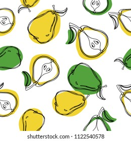 Pears seamless pattern. Fruit pattern. Half of pear and whole pear