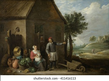 Peasant with His Wife and Child in Front of the Farmhouse, by David Teniers (II), 1640-70, Flemish. Painting, oil on canvas. A farmer has a spade in his hand, and points to the right, possible to his