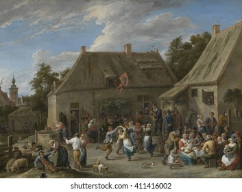 Peasant Kermis, by David Teniers (II), c. 1665 Flemish painting, oil on canvas. Peasants celebrating at a country festival. They wear their good, clean and unpatched clothes as they eat, dance and dr