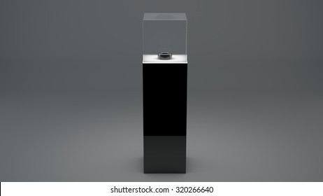 The pedestal for the ball on a gray background