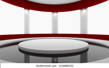 Pedestal for display and advertising, empty product stand with white lightboxes on wall concept. 3d rendering