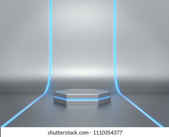 Pedestal for display,Platform for design,Blank product stand with light glow,Futuristic background .3D rendering.