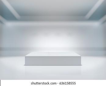Pedestal for display,Platform for design,Blank product stand with background lab.3D rendering.