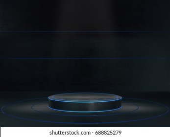 Pedestal for display,Platform for design,Blank product stand with light glow.3D rendering.