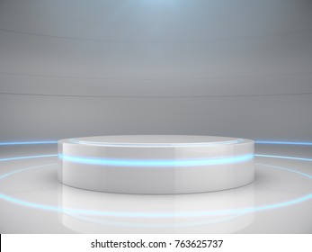 Pedestal for display,Platform for design,Blank product stand with light glow,Future background.3D rendering.