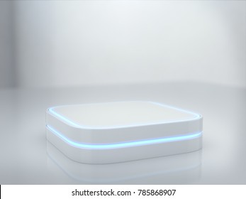 Pedestal for display,Platform for design,Blank product stand with light glow, Future background. 3D rendering.