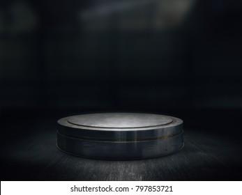 Pedestal for display,Platform for design,Blank product stand.3D rendering.