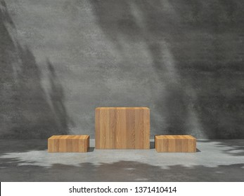 Pedestal for display,Platform for design,Blank product,concrete room with Tree shadow on the wall .3D rendering.