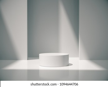 Pedestal for display,Platform for design,Blank product,White room and lateral lights.3D rendering.