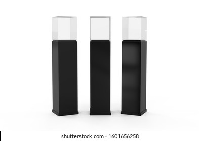 Pedestal glass display case, mock up template on isolated white background, 3d illustration