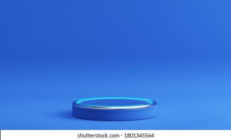 Pedestal with glowing light circle on blue background, Blank Pedestal minimal concept template - 3d rendering mockup