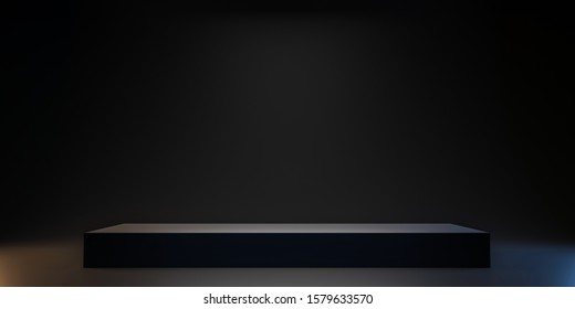 Pedestal of Platform display with black stand podium on dark room background. Blank Exhibition or empty product shelf. 3D rendering.