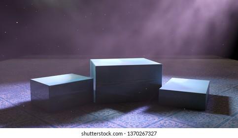 Pedestal or platform on cement floor.3d illustration. Abstract background empty and dark room