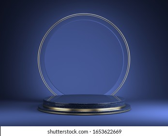 Pedestal with round gold frame on black background, Blank Pedestal minimal concept template - 3d rendering mockup