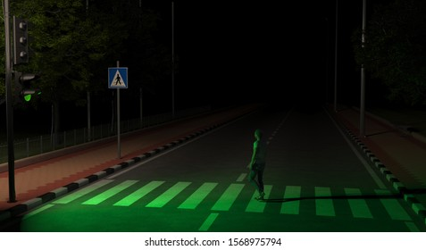 A pedestrian crosses the road on an unlit street at night at the green light of a traffic light. A man follows the rules of the road. 3D rendering