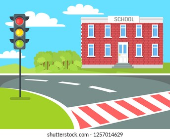 Pedestrian near school building, traffic lights stand on grass  illustration near educational establishment. Crosswalk not far from brick building