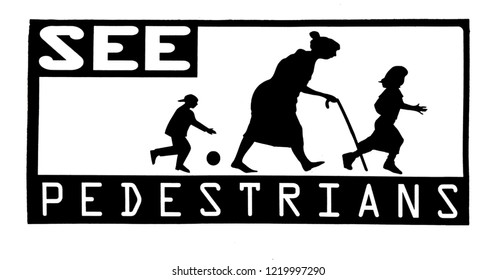 Pedestrian street sign featuring children and elderly woman with cane. Isolated. Black and white.