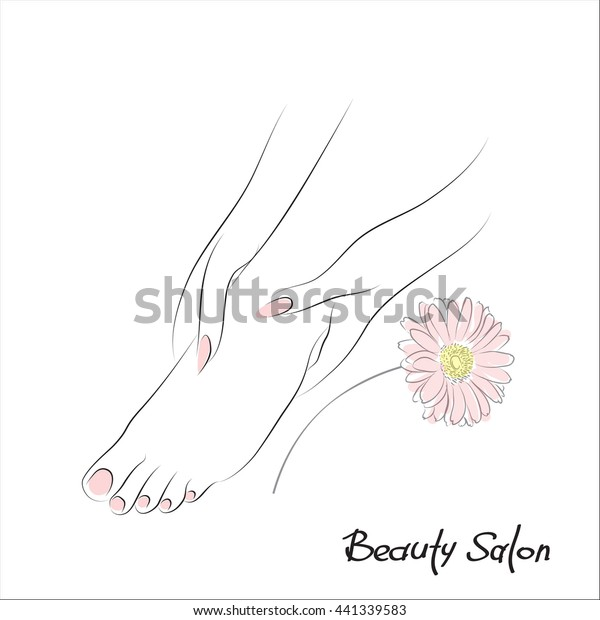 Pedicure banner with female feet and pink nails. FDesign spa template with gerbera flower. Body care, health and wellness concept