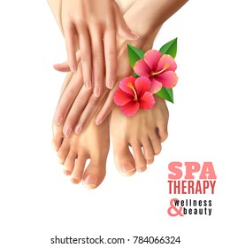 Pedicure and manicure spa therapy salon poster with pink flowers female feet and hands on white background realistic  illustration