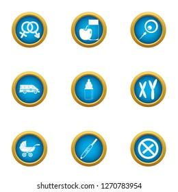 Pedigree icons set. Flat set of 9 pedigree icons for web isolated on white background