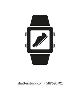 Pedometer icon. Smart watch, clock, fitness bracelet symbol. Flat design. Stock -  illustration