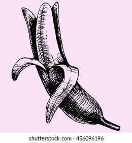 Peeled banana doodle style sketch illustration hand drawn raster