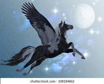 Pegasus 03 - A beautiful black and white Pegasus flies up into the sky on long feathered wings.