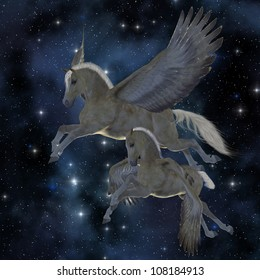 Pegasus 04 - A Palomino Pegasus mare and foal fly among the stars on magical wings.