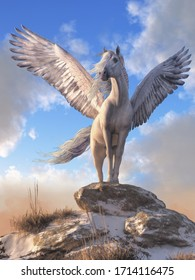 Pegasus, the all white, horse with wings from Greek mythology stands atop a rock covered hill top, his white feathered wings spread wide. 3D Rendering.