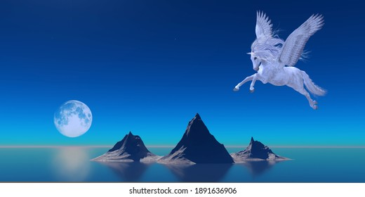 Pegasus by Ocean 3d illustration - A beautiful white Pegasus flies over the calm waters of the ocean as a full moon reflects on the water.