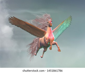 Pegasus in Clouds 3D illustration - A white Pegasus stallion a creature of myth and folklore flies magically through a sky with light clouds.