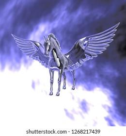 Pegasus in crystal, winged horse of Greek mythology, 3d illustration