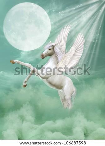 bf0c2b2e6e73 Royalty Free Stock Illustration of Pegasus Fantasy Landscape Waves ...