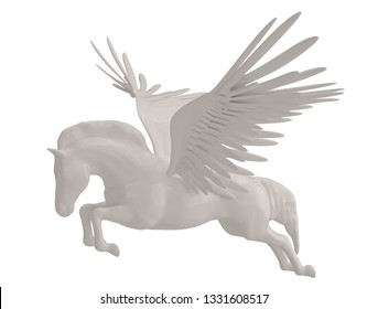 Pegasus majestic mythical greek winged horse isolated on white background. 3D illustration.