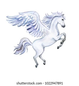 Pegasus with wings isolated on white background. White Horse. Watercolor. Illustration. Template Clip art.