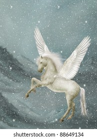 pegasus in a winter landscape with snow